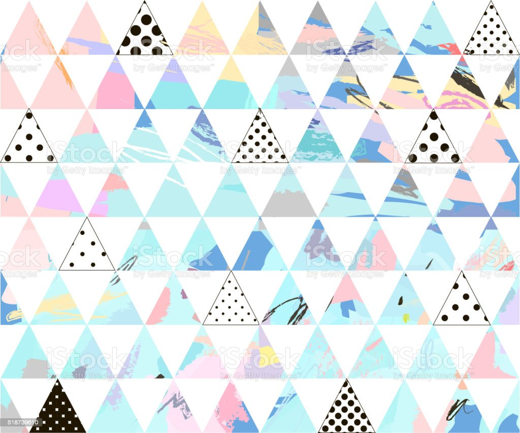Seamless colorful pattern with geometric shapes vector art illustration