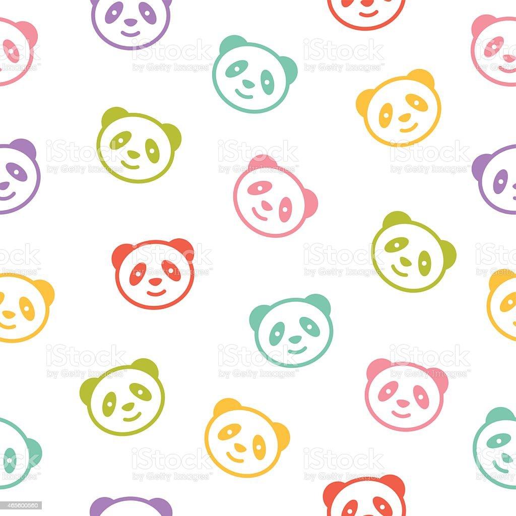 Ilustración de Patrón Sin Costuras Colorida Con Oso Panda Vector y ...