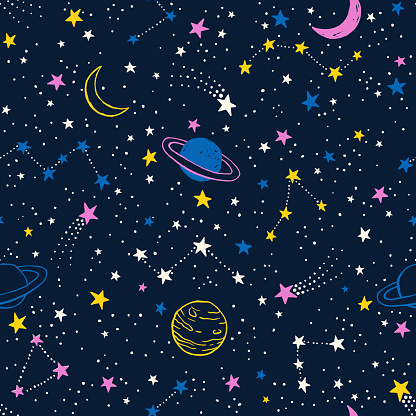 Seamless colorful pattern with planets, constellations and stars