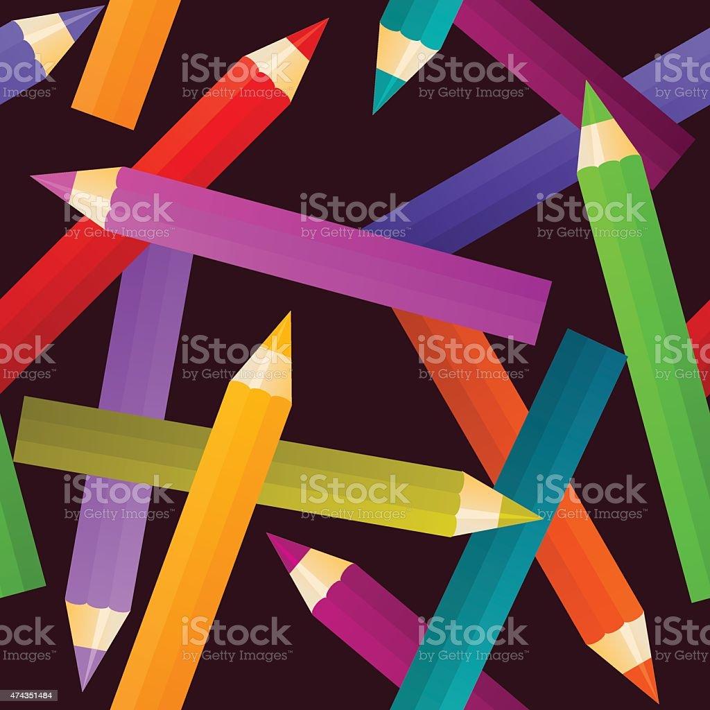 seamless colorful pencils vector art illustration