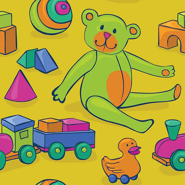 seamless colorful vintage toys vector art illustration