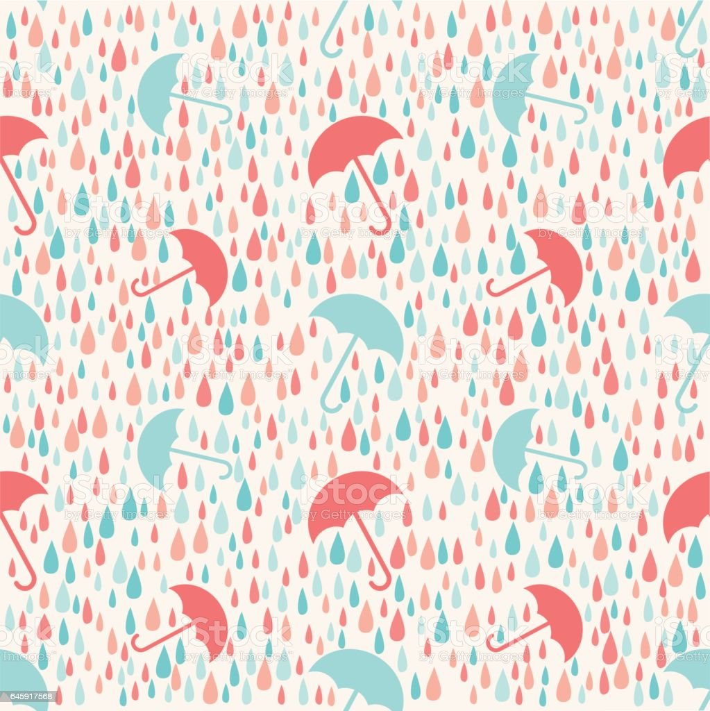 Seamless Colorful Weather Rainy Day With Umbrella Pattern Background Royalty Free