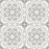 Seamless coloring Mandala pattern. Seamless ornament for your creativity