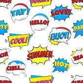 Seamless Comic Lettering Summer In The Speech Bubbles Comic Style Flat Design pattern. Dynamic Pop Art Vector Illustration Isolated On White Background.