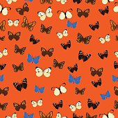 Seamless common butterfly pattern