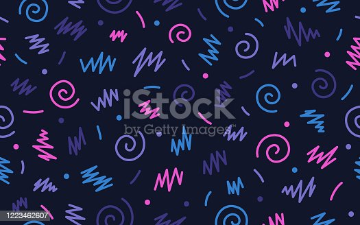Seamless retro abstract background party confetti retro background swirls.