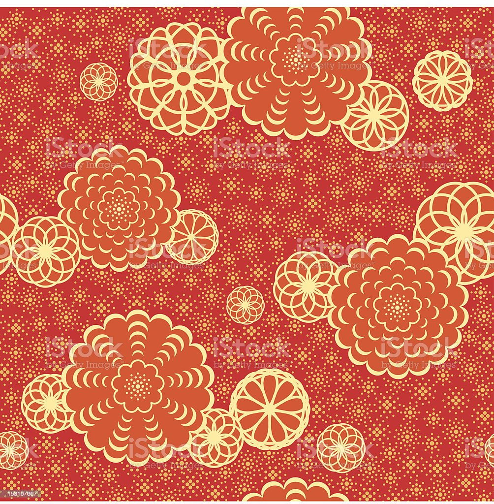 Seamless coral and red Japanese flower pattern background royalty-free stock vector art