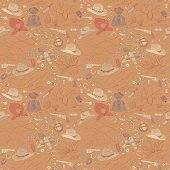 seamless cowboy pattern with landscapes