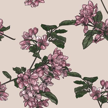 Seamless Crabapple Blossom Tree Pattern