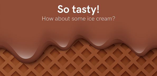Seamless creamy liquid, yogurt cream, ice cream or chocolate melting and flowing on a chocolate waffle. Black creamy drips. Simple cartoon design. Background for banner. Realistic vector illustration.