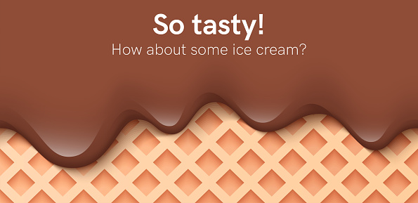 Seamless creamy liquid, yogurt cream, ice cream or chocolate melting and flowing on a waffle. Brown creamy drips. Simple cartoon design. Background for banner. Realistic vector illustration.