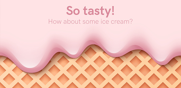 Seamless creamy liquid, yogurt cream, ice cream or milk melting and flowing on a waffle. Pink cherry creamy drips. Simple cartoon design. Background for banner. Realistic vector illustration.
