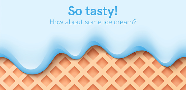 Seamless creamy liquid, yogurt cream, ice cream or milk melting and flowing on a waffle. Blue mint creamy drips. Simple cartoon design. Background for banner. Realistic vector illustration.