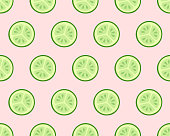 Seamless texture of cucumber slices on pink background. Healthy frood or cosmetic ingredient pattern. Vector illustration.