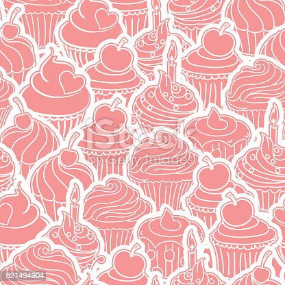 Seamless Cupcakes Background Pattern