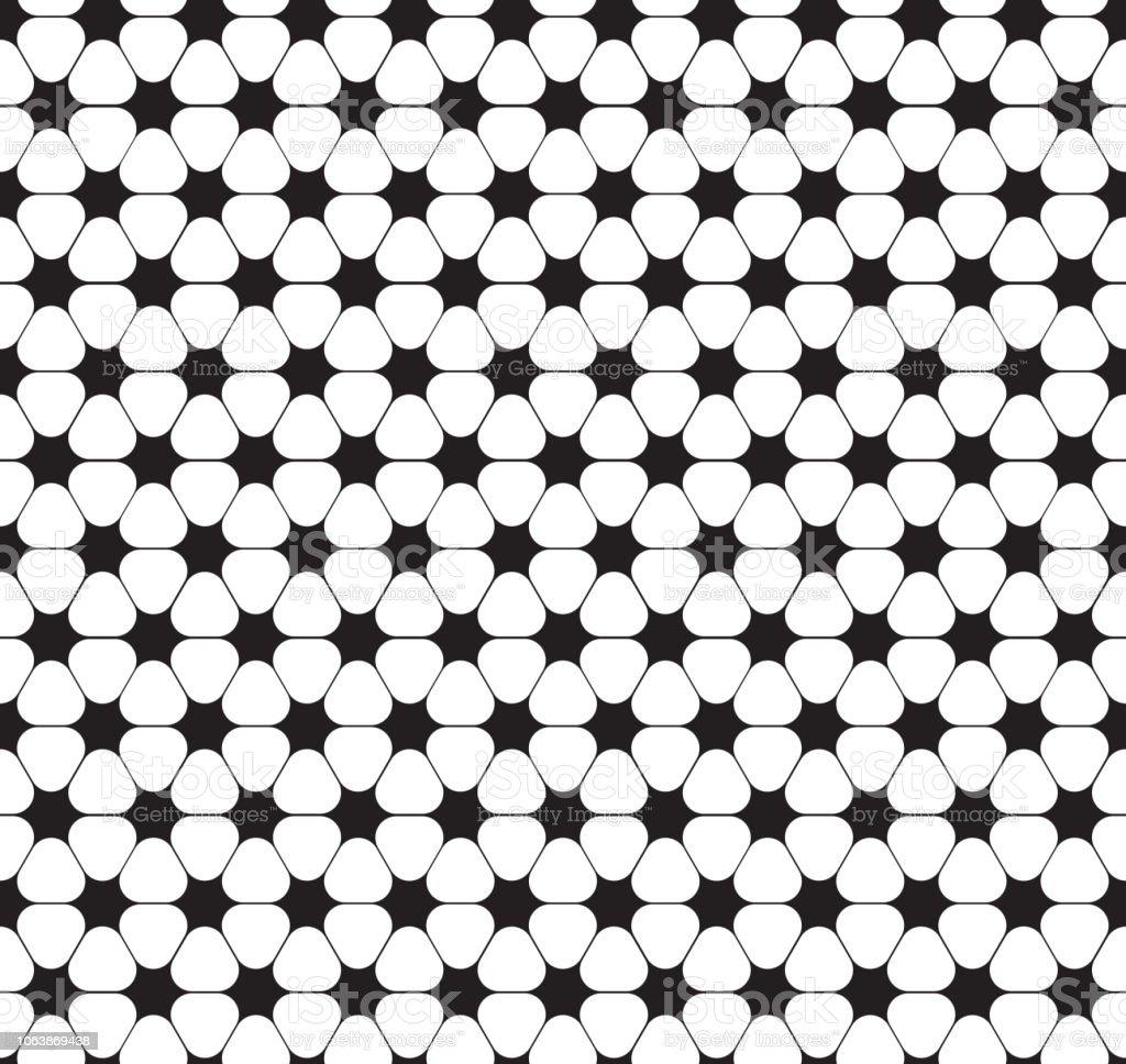 Teste padrão de flor estrela curvada sem emenda - ilustração de arte em vetor