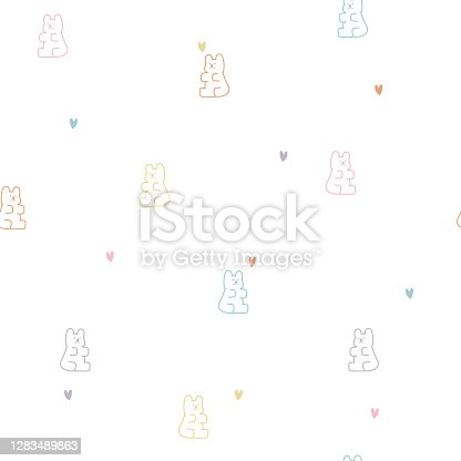 seamless cute animal gummy bear repeat pattern in white background