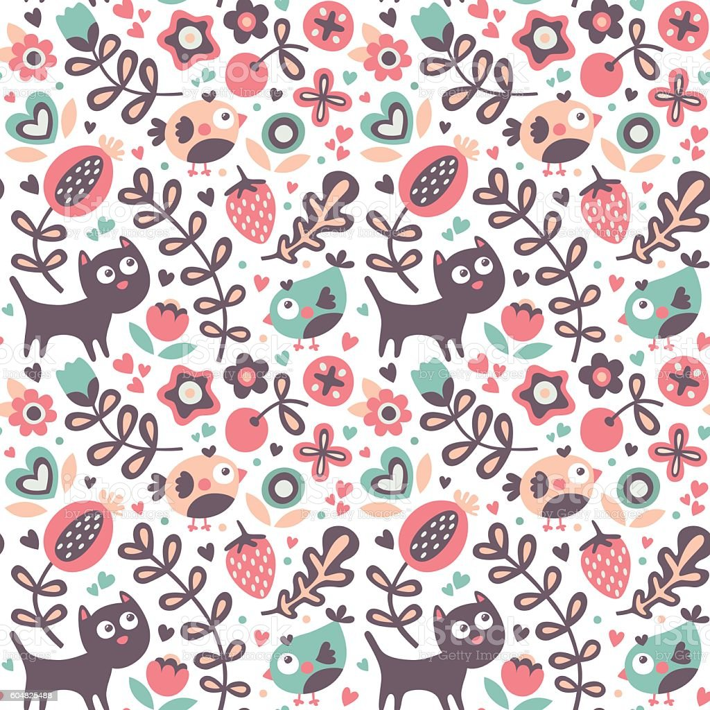 Seamless Cute Animal Pattern Cat Bird Flower Leaf Floral ...