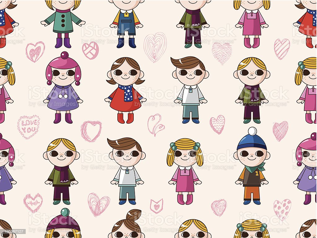 seamless cute cartoon pattern royalty-free stock vector art