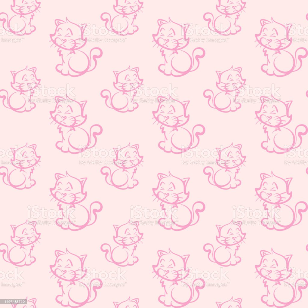 Seamless Cute Cat Pattern In Cartoon Style Wallpaper Texture Stock Illustration Download Image Now Istock