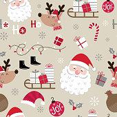 Seamless cute Christmas character design pattern, cute Santa Claus, cute reindeer, hat, Santa sleigh, gift, baubles,