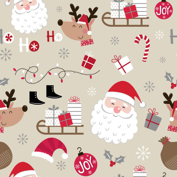 seamless cute christmas character design pattern - christmas background stock illustrations