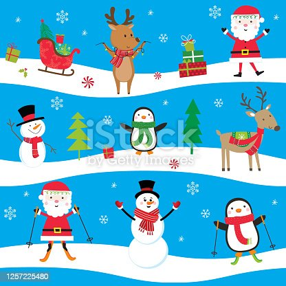 istock Seamless Cute Christmas character, Santa Clause and friends 1257225480