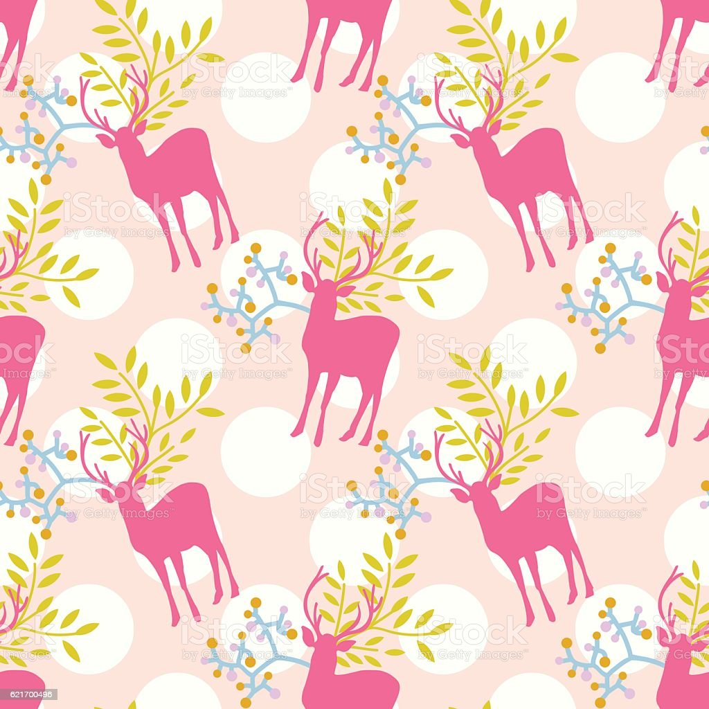 Seamless Cute Floral Deer Pattern With Polka Dot Background Royalty Free