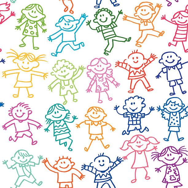 bildbanksillustrationer, clip art samt tecknat material och ikoner med seamless cute kids - förskola
