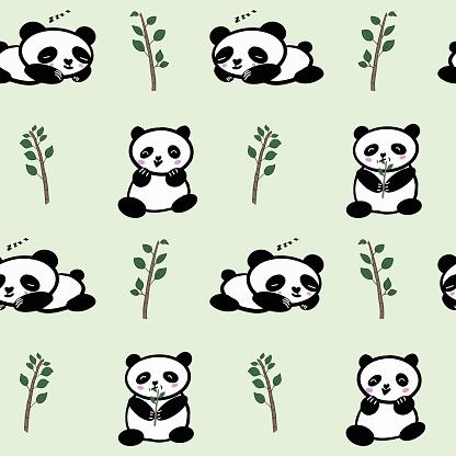 Seamless Cute Panda Vector Pattern