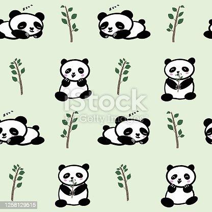 istock Seamless Cute Panda Vector Pattern 1258129515