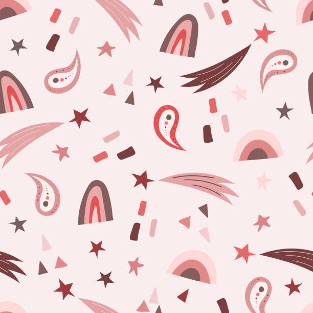 Seamless cute pattern for kids on a colored background. Scandinavian style vector art illustration
