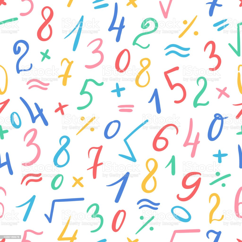Seamless Cute Pattern Of Hand Written Colorful Numbers And ...