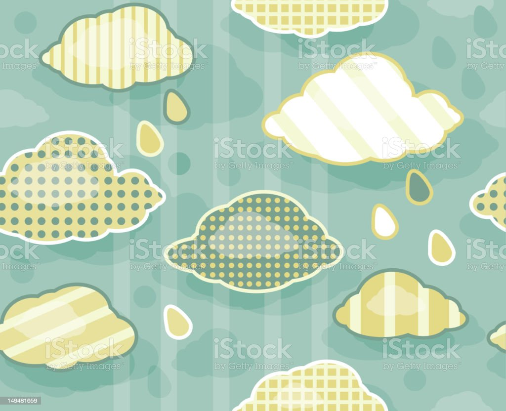Seamless cute  pattern of sky  with clouds royalty-free stock vector art