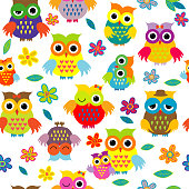 Seamless cute pattern whith cartoon owls on white background