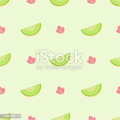Seamless cute pattern with melon(Cantaloupe) on green background, pastel color