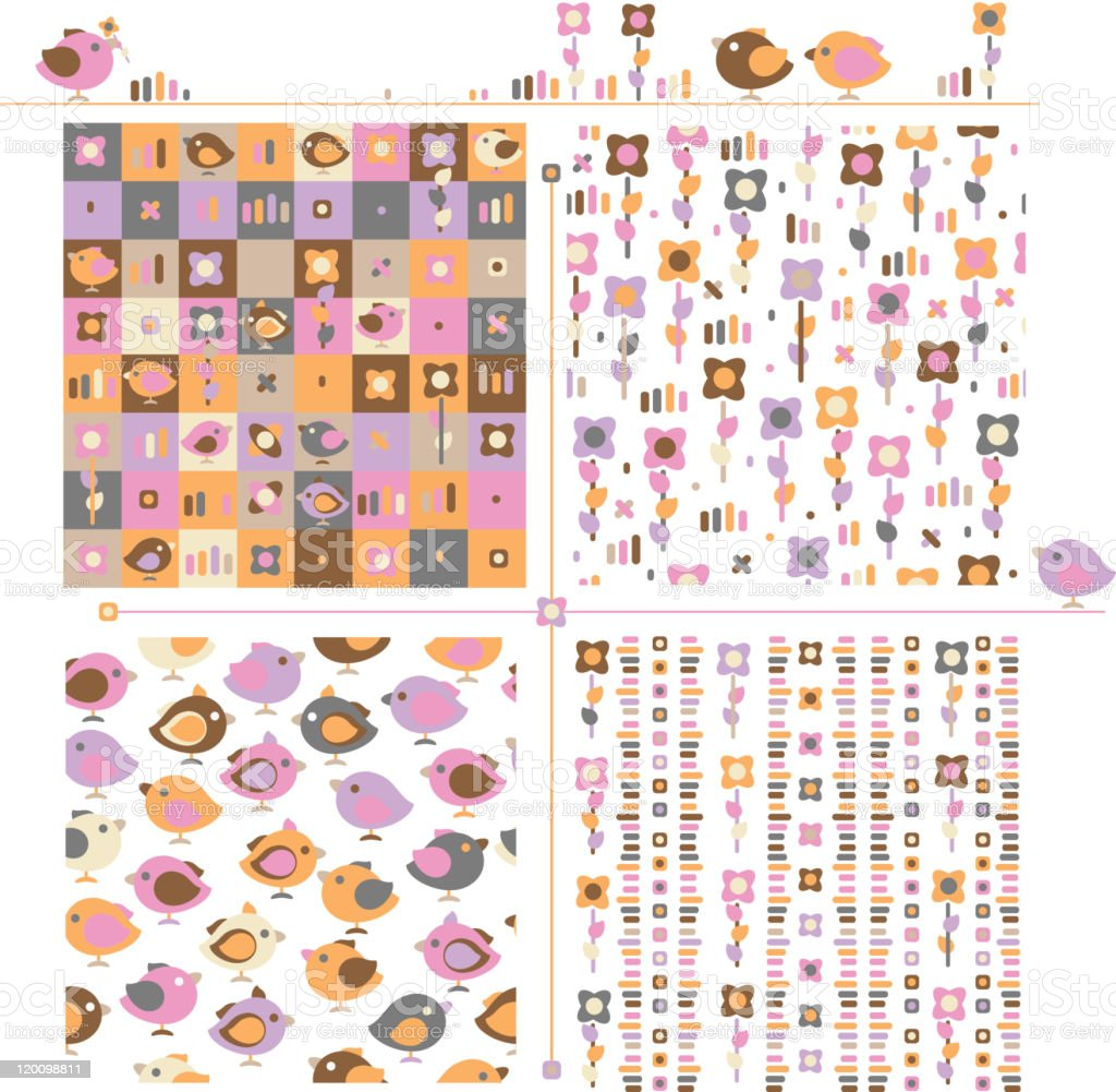 Seamless  cute patterns  and elements for spring design. royalty-free seamless cute patterns and elements for spring design stock vector art & more images of animal