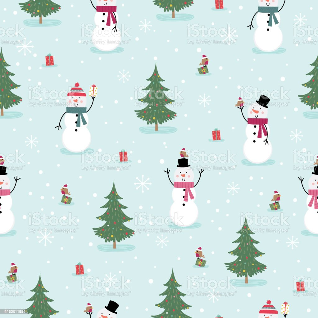 シームレスかわいい雪だるまと小さなロビンラップ壁紙装飾紙ベクトルイラストに適したクリスマスかわいいキャラクター お祝いのベクターアート素材や画像を多数ご用意 Istock
