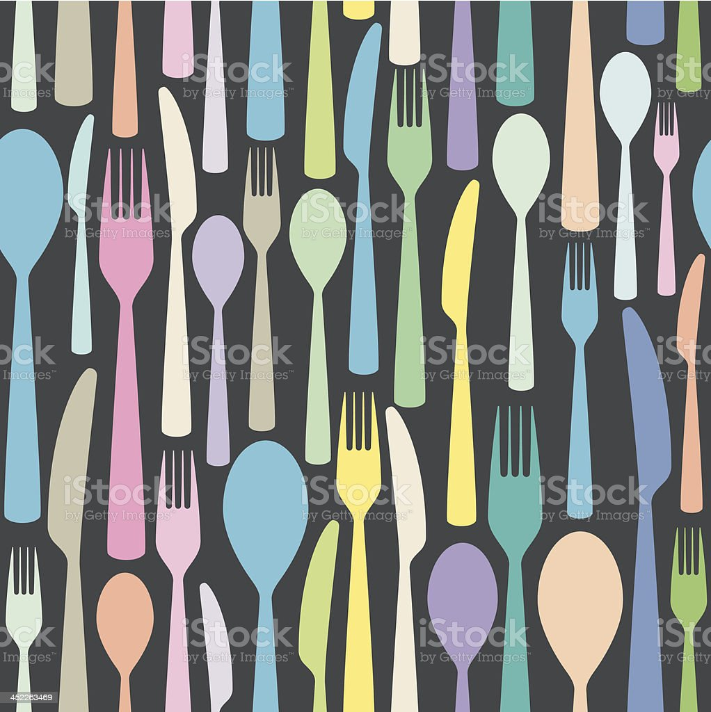 seamless cutlery themed colorful pattern royalty-free stock vector art