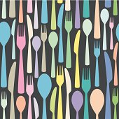 seamless cutlery themed colorful pattern