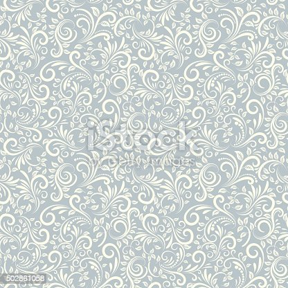 Seamless background of light blue color in Damascus style
