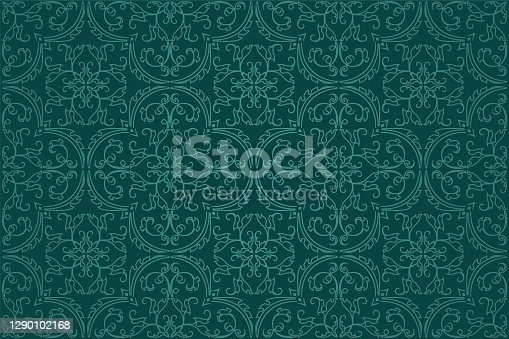 istock Seamless Damask Background Pattern Design and Wallpaper Made of Turkish Texture Ceramic Tiles in Vector 1290102168