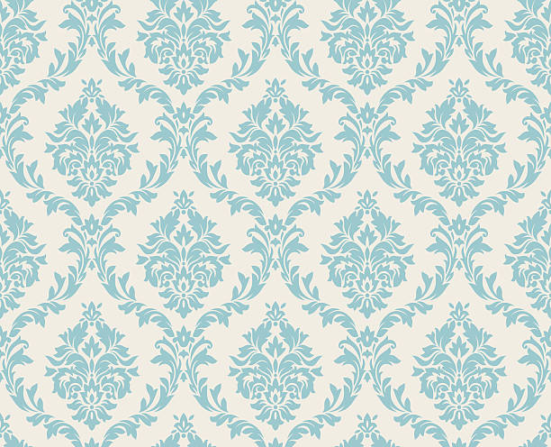 seamless damask pattern done in light blue - floral and decorative background stock illustrations