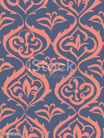 istock Seamless damask pattern, floral decorative background. Stylized flowers. 1220751277