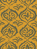 Wallpaper in the style of Baroque, Seamless damask pattern, floral decorative background for design, wallpaper, fabric and textile. Abstract Orient wallpaper decor illustration.