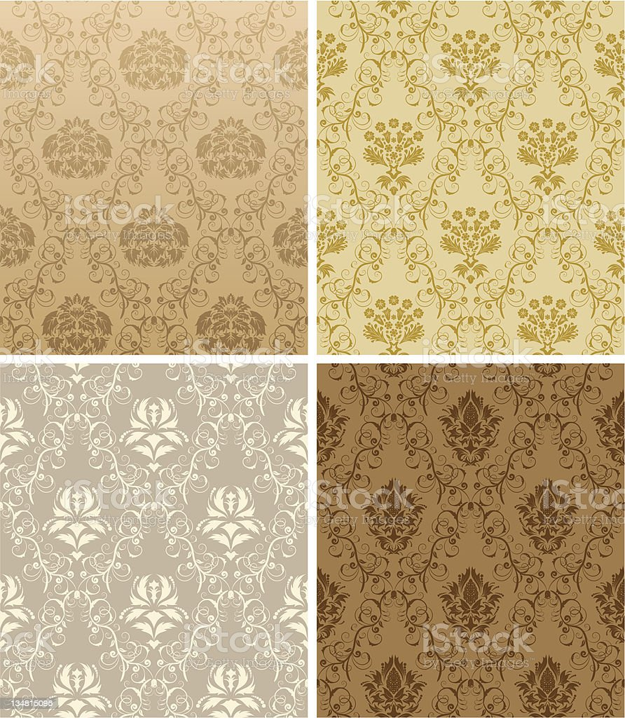 seamless damask pattern set royalty-free stock vector art