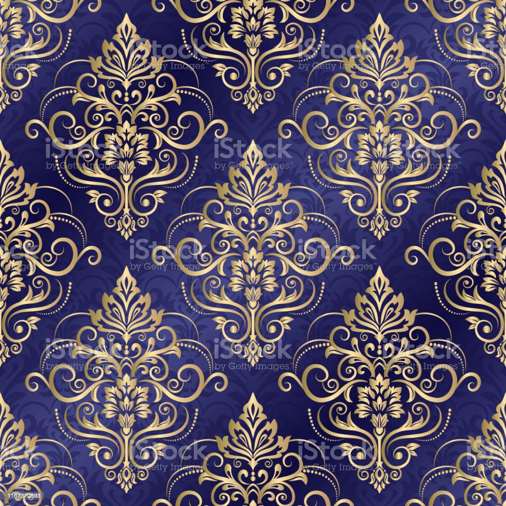 Seamless Damask Wallpaper Oriental Vector Pattern With Arabesques