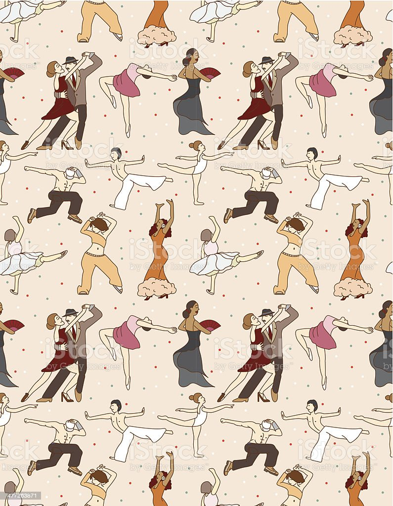 seamless dancer pattern vector art illustration