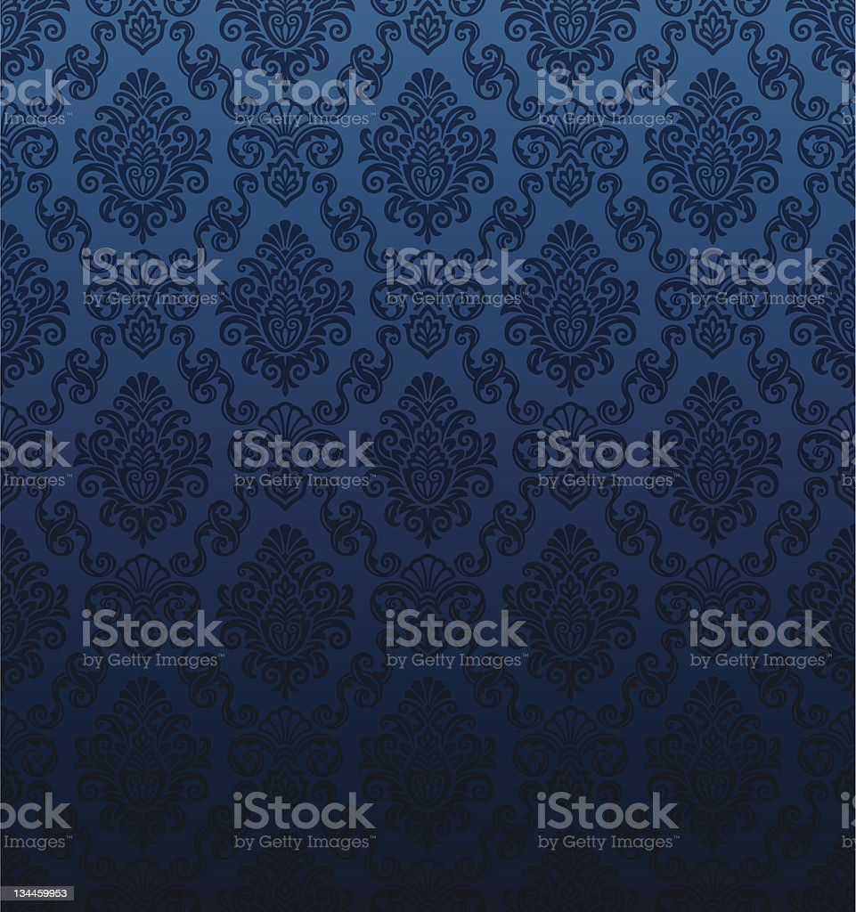 Seamless dark blue damask wallpaper vector art illustration