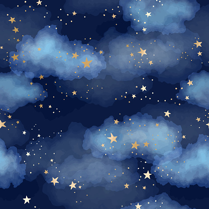 Seamless dark blue night sky pattern with gold foil constellations, stars and watercolor clouds clipart